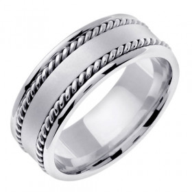 Hand Braided Milgrain Wedding Ring in 9ct White Gold