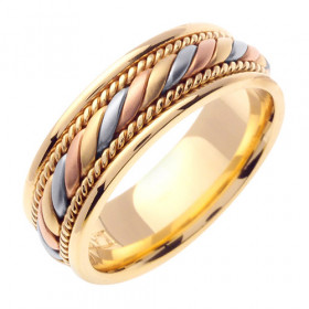 Hand Braided Multi-Tone Celtic Wedding Ring in 9ct Three-Tone Gold