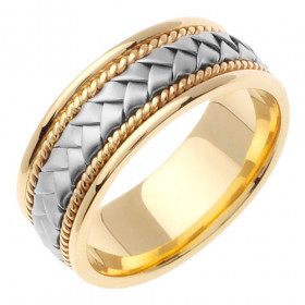 Hand Woven Celtic Wedding Ring in 9ct Two-Tone Gold