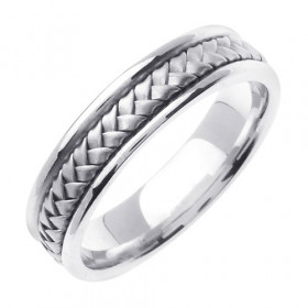 Hand Woven Wedding Ring in 9ct White Gold