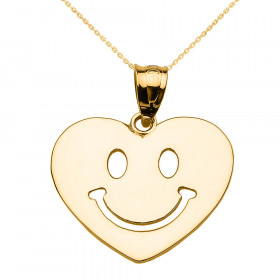 Happy Face Heart Pendant Necklace in 9ct Gold