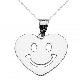 Happy Face Heart Pendant Necklace in 9ct White Gold