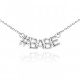 #Babe Pendant Necklace in 9ct White Gold