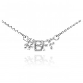 #BFF Pendant Necklace in 9ct White Gold