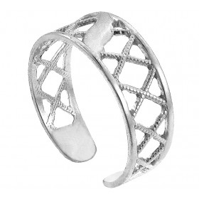 Hatch Toe Ring in 9ct White Gold