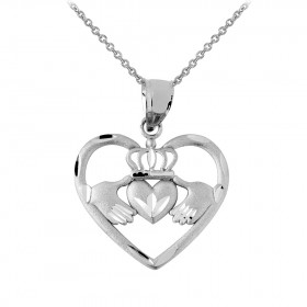 Heart Claddagh Pendant Necklace in Sterling Silver
