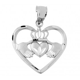 Heart Claddagh Pendant Necklace in 9ct White Gold