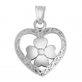Heart Clover Claddagh Pendant Necklace in 9ct White Gold