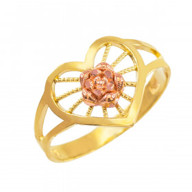 Heart Filigree Ring in 9ct Two-Tone Gold