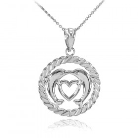 Heart Kissing Dolphins Circle Rope Charm Necklace in 9ct White Gold