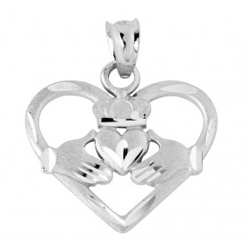 Heart Shaped Claddagh Pendant Necklace in 9ct White Gold