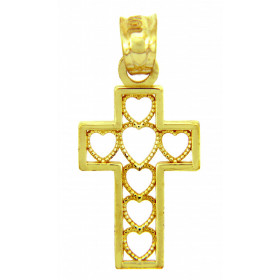 Hearts Cross Pendant Necklace in 9ct Gold