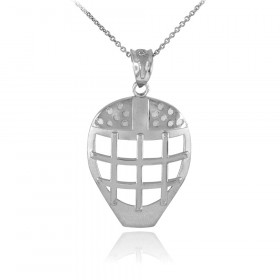 Hockey Goalie Mask Pendant Necklace in 9ct White Gold