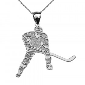Hockey Player Pendant Necklace in 9ct White Gold