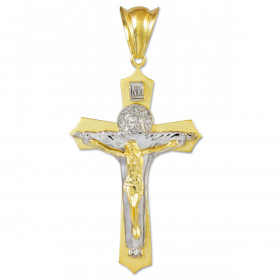 Holy Trinity Crucifix Cross Pendant Necklace in 9ct Two-Tone Gold