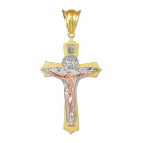 Holy Trinity Crucifix Midsize Cross Necklace in 9ct Three-Tone Gold