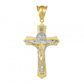 Holy Trinity Crucifix Midsize Cross Necklace in 9ct Two-Tone Gold