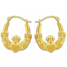 Hoop Claddagh Earrings in 9ct Gold