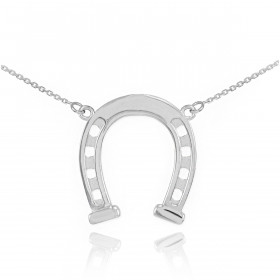 Horseshoe Pendant Necklace in 9ct White Gold