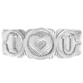 I Heart U Toe Ring in 9ct White Gold