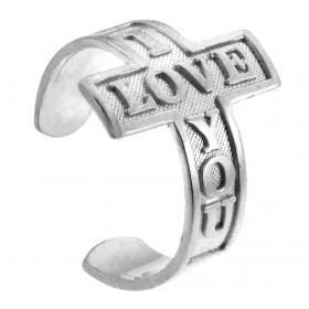 I Love You Toe Ring in 9ct White Gold