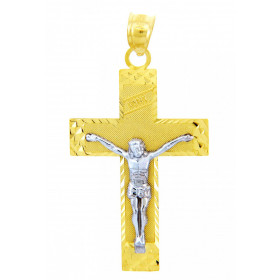 INRI Crucifix Cross Pendant Necklace in 9ct Two-Tone Gold