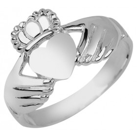 Irish Claddagh Ring in 9ct White Gold