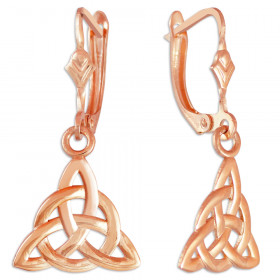 Irish Trinity Claddagh Earrings in 9ct Rose Gold