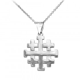 Jerusalem Crusaders Cross Pendant Necklace in 9ct White Gold