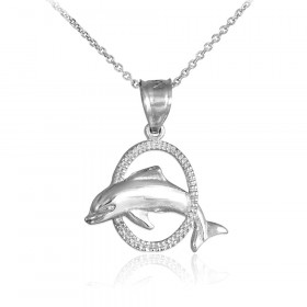 Jumping Dolphin Hoop Charm Pendant Necklace in 9ct White Gold