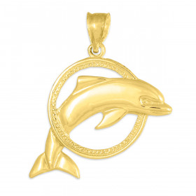 Jumping Dolphin Hoop Pendant Necklace in 9ct Gold