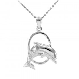 Jumping Dolphin Hoop Pendant Necklace in 9ct White Gold