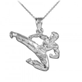 Karate Pendant Necklace in 9ct White Gold