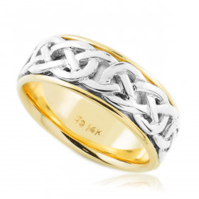 Knot Celtic Wedding Ring in 9ct Two-Tone Gold