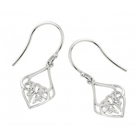 Knot Claddagh Earrings in Sterling Silver