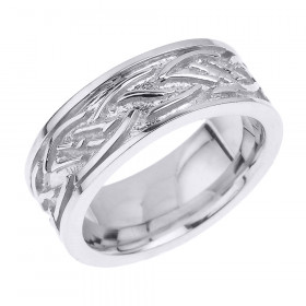 Knot Unisex Decorative Wedding Ring in 9ct White Gold