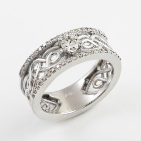 Knot Vintage Engagement Ring in 9ct White Gold