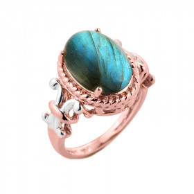 Labradorite Oval Ring in 9ct Rose Gold