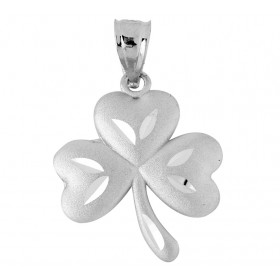Large Clover Claddagh Pendant Necklace in 9ct White Gold