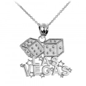 Las Vegas Dice Charm Pendant Necklace in 9ct White Gold