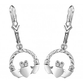 Leverback Claddagh Earrings in 9ct White Gold