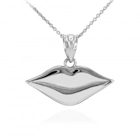 Lips Charm Pendant Necklace in 9ct White Gold