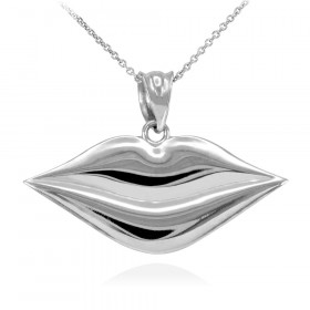 Lips Pendant Necklace in 9ct White Gold
