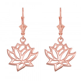Lotus Flower Leverback Earrings in 9ct Rose Gold