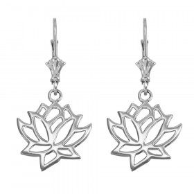 Lotus Flower Leverback Earrings in 9ct White Gold