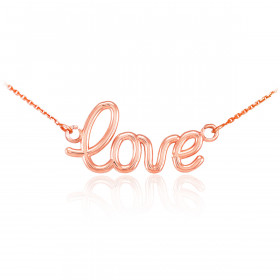Love Script Pendant Necklace in 9ct Rose Gold