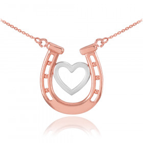 Lucky Horseshoe Heart Charm Pendant Necklace in 9ct Two-Tone Gold
