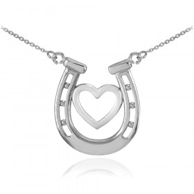 Lucky Horseshoe Heart Charm Pendant Necklace in 9ct White Gold