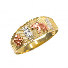 Lucky Ring in 9ct Three-Tone Gold