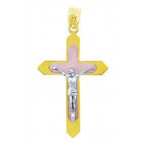 Majesty Crucifix Pendant Necklace in 9ct Three-Tone Gold